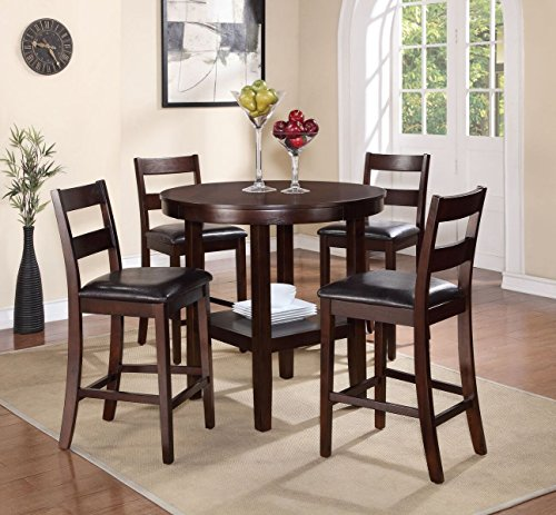 Pearington 5 Piece Counter Height Storage Dining Set, Expresso Finish by Pearington