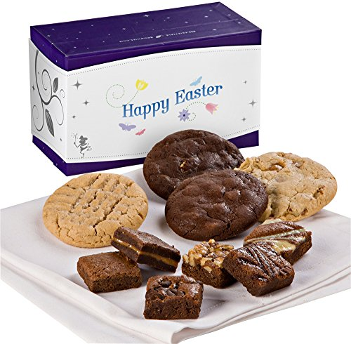 Fairytale Brownies Easter Treasure Cookie & Magic Morsel Combo Gourmet Food Gift Basket Chocolate Box - 1.5 Inch x 1.5 Inch Bite-Size Brownies and 3.25 Inch Cookies - 10 Pieces