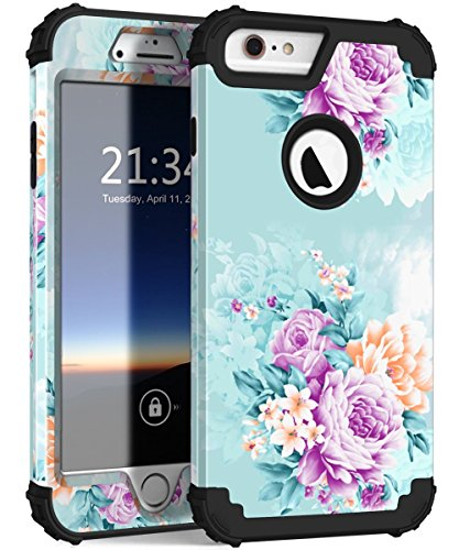 iPhone 6 Plus Case,iPhone 6s Plus Case PIXIU Unique Three Layer Heavy Duty High Impact Resistant Hybrid Protective Cover Cases for iPhone 6 Plus/6s Plus Peonies Floral