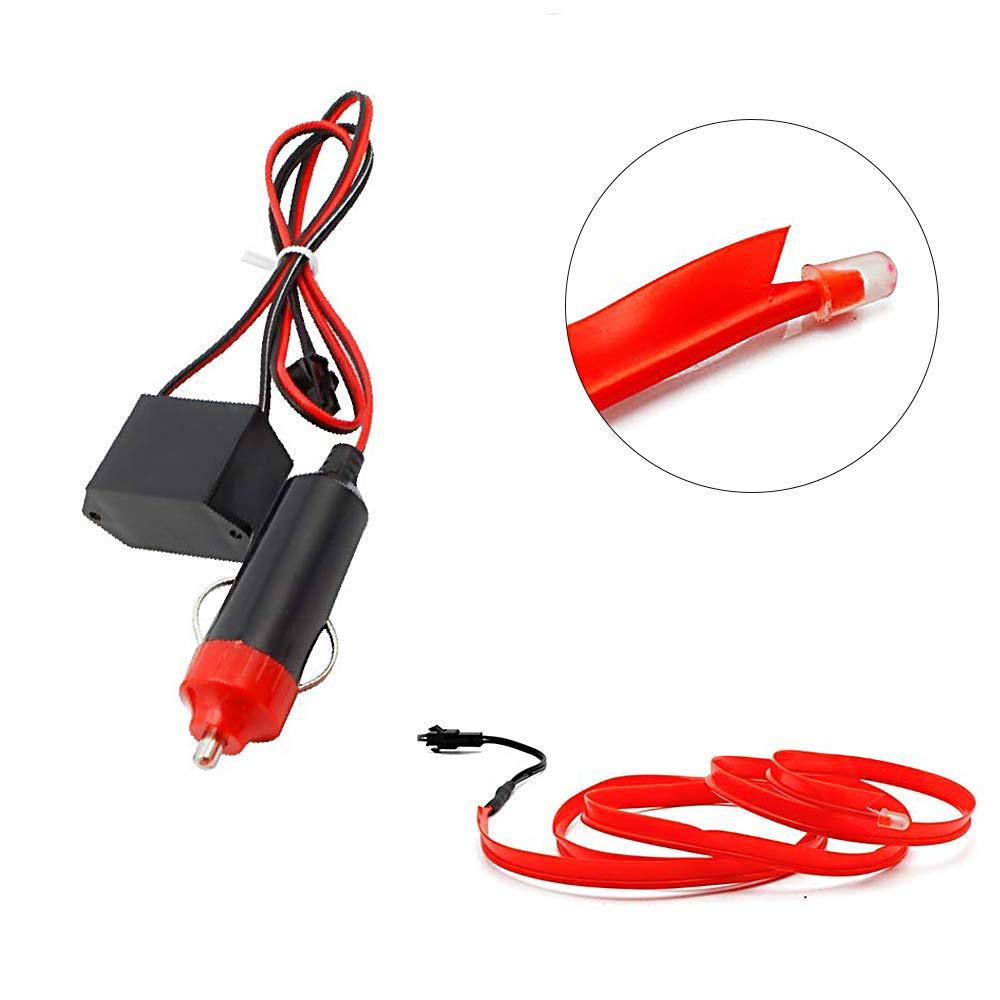 HopeU5 1M auto 12V LED luci fredde flessibile neon EL filo lampade auto su auto strisce di luce fredda linea decorazione interna strisce lampade-Rosso