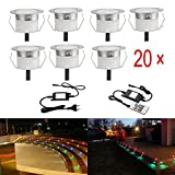LED Deck Lights Kit, Low Voltage 20 pcs Waterproof IP65 Φ1.22'' Recessed Deck Lamp RGB LED In-ground Lighting Outdoor Garden Yard Pathway Patio Step Stairs Landscape Decor Lamps