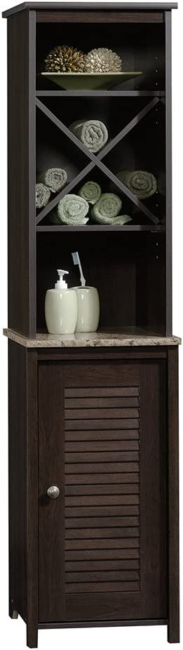 Sauder Peppercorn Linen Tower, Cinnamon Cherry finish best bathroom storage solutions