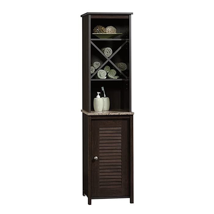"Sauder 414034 Peppercorn Linen Tower, L: 14.72"" x W: 15.51"" x H: 60.59"", Cinnamon Cherry finish"