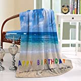 HAIXIA Throw Blanket Happy Birthday Sign on the Tropical Beach in Hawaii Sweet Surprise Multicolor