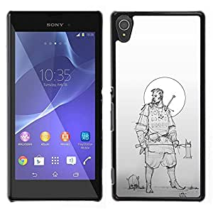 Be-Star Único Patrón Plástico Duro Fundas Cover Cubre Hard Case Cover Para Sony Xperia T3 ( Woodsman Warrior Moon Sketch )