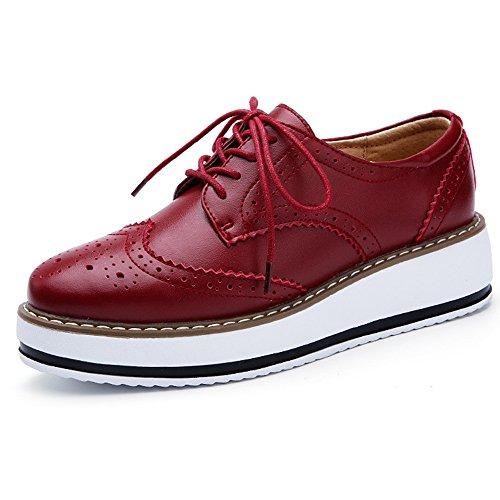 Shoe Women's Toe Red Up Platform Wingtips YING Oxfords Square LAN Lace BUfqxPw