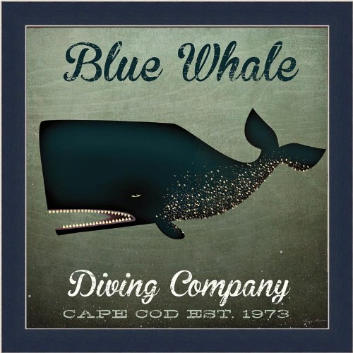 buyartforless If Wap 15014 1.25 Cblue Glass Framed Blue Whale Diving Company Cape Cod