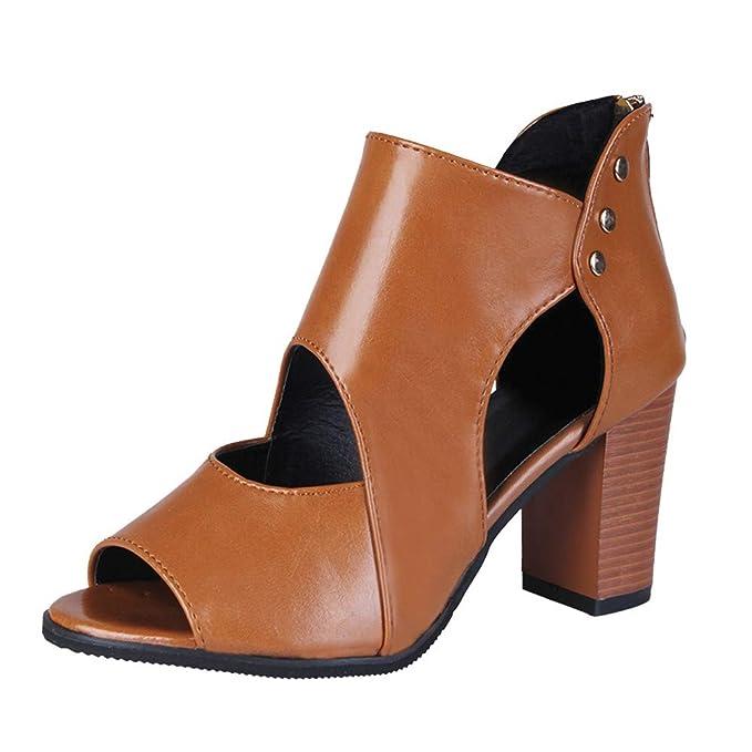 625665088 Botas de Tacón POLP Mujer Zapatos Altos Talones Sandalias con Punta Abierta para  Mujer Tacón 4.5cm Zapatos Mujer