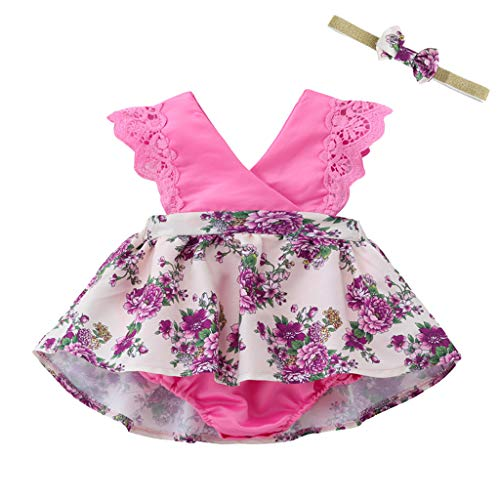 RoDeke Toddler Baby Kids Girls Sleeveless Ruffled Floral Print Jumpsuit Sunsuit Romper Clothes with -