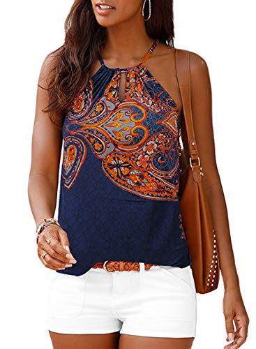 Print Spandex Halter Top - Women's Summer Floral Print Sleeveless Halter Cami Tank Tops Multicoloured Small 4 6
