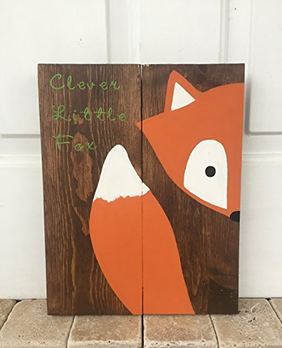 10x14 Stay Clever Little Fox Wood Sign Nursery Decor Baby Shower Gift or Baby (Peak A-boo Collection)