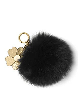 3a78a44621c1 MICHAEL KORS Pom Poms Fur Large with Flowers Bag Charm (Black) at Amazon  Women s Clothing store