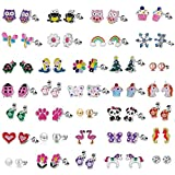 33 PairsStud Earrings Set for Girls - Hypoallergenic Earrings Set for Kids - Colorful CZ Stud Earrings for Little Girls - Animal Earrings for teen Girls Jewelry: more info