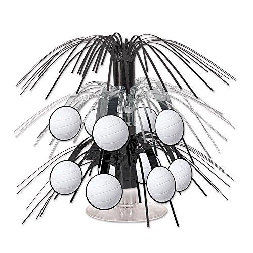 Beistle Volleyball Mini Cascade Centerpiece, 7 1/2-Inch, Black/White/Silver ()
