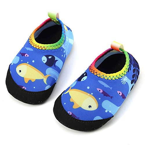 Panda Software Baby Boys Girls Water Shoes Infant Barefoot Quick -Dry Anti- Slip Aqua Sock for Beach Swim Pool Fish/12-18 Months M US Infant