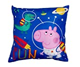 Peppa Pig George Square Planets Space Cushion Pillow – Two Sided Kids Design Perfect for Any Bedroom Or Playroom, Polyester, Blue