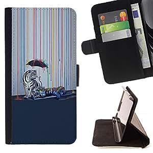 Momo Phone Case / Flip Funda de Cuero Case Cover - Psychedelic Rainbow Tigre Blanco;;;;;;;; - Apple Iphone 5 / 5S