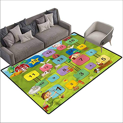 Blocks Contemporary Area Rug - Floor Mats for Living Room Board Game,Square Blocks Numbers 60