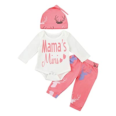 3pcs Baby Girls Mama's Mini Long Sleeve Bodysuit and Deer Pants Outfit with Hat