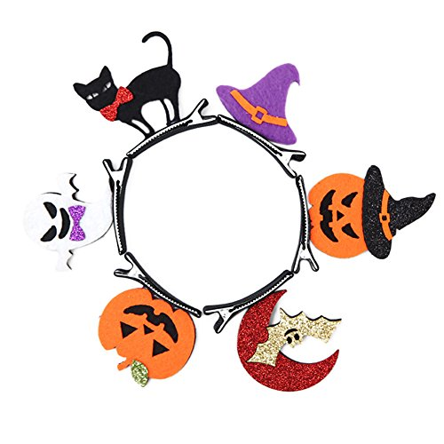 Baby Girls' Hair Accessories, 6PCS Halloween Hair Clips Pumpkin/Bats/Ghost Sahpe Hair Bows Girl's (Walmart Halloween Accessories)