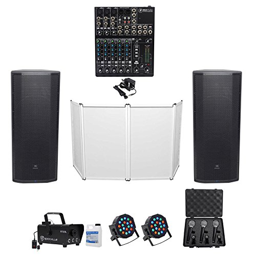 JBL DJ PACKAGE w/(2) Dual 15 Speakers+Mackie Mixer+Facade+Mics+Fogger+Par (Analog Self Powered Speaker System)