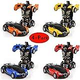 Cartoon Crash Deformation Transforming Robot Car Toy Kids Game Gift Electrical Safety (4pcs, Yellow&Red&Orange&Blue)