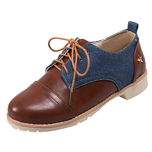 Show Shine Womens Color Matching Lacing Up Chunky Heel Oxfords Shoes Dark Blue 6SrXU