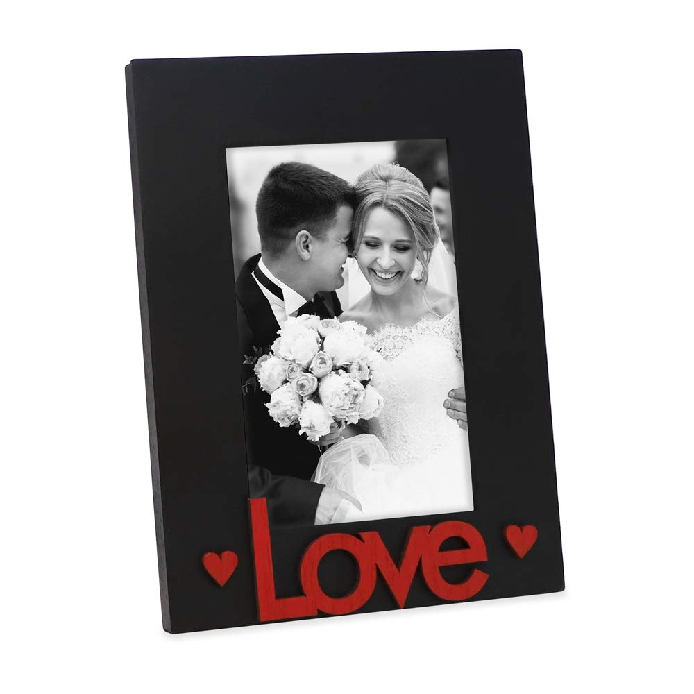"""Isaac Jacobs Black & Red Wood Sentiments """"Love"""" Picture Frame, 4x6 inch, Photo Gift for Loved Ones, Family, Display on Tabletop, Desk (Black/Red)"""