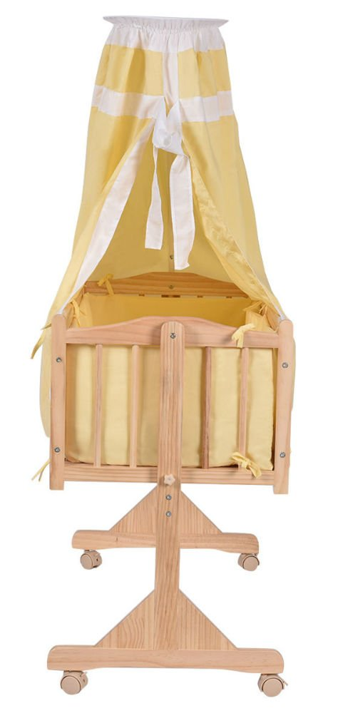 Wood Baby Cradle Rocking Crib Bassinet Bed Sleeper Born Portable Nursery Yellow by Unknown (Image #3)