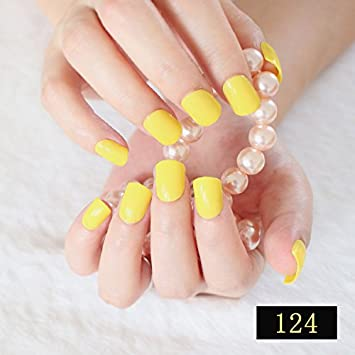 Amazon.com  24Pcs Short False Nails Lemon Yellow Candy
