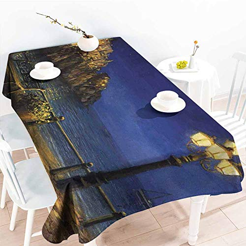 Onefzc Elastic Tablecloth Rectangular,Italy Starry and Romantic Evening at The Coast of Amalfi in Italy Oil Painting Style,Table Cover for Kitchen Dinning Tabletop Decoratio,W52x70L Navy Blue Brown ()