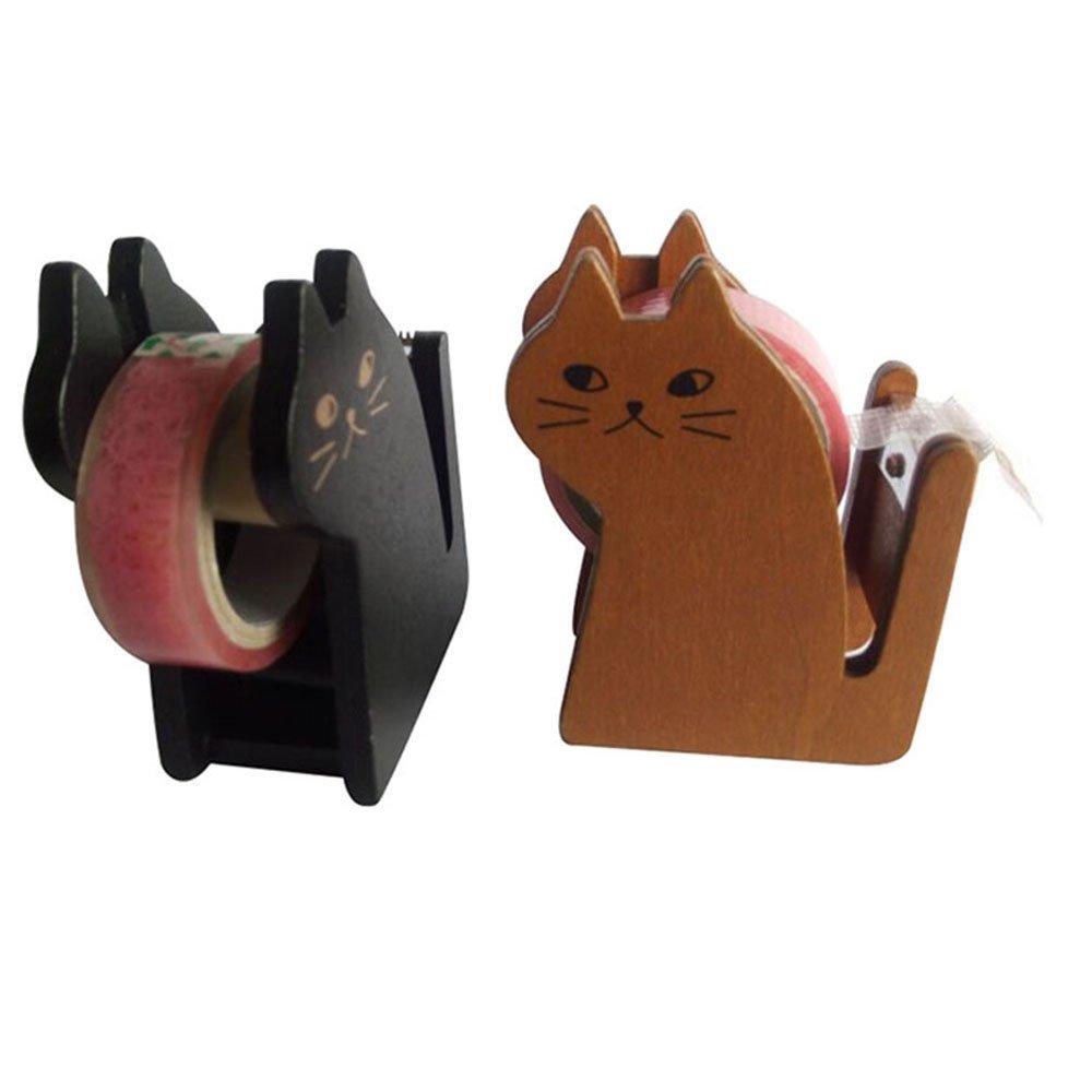 2 Pack Cat Shape Wooden Desktop Tape Dispenser Cutter for School Office