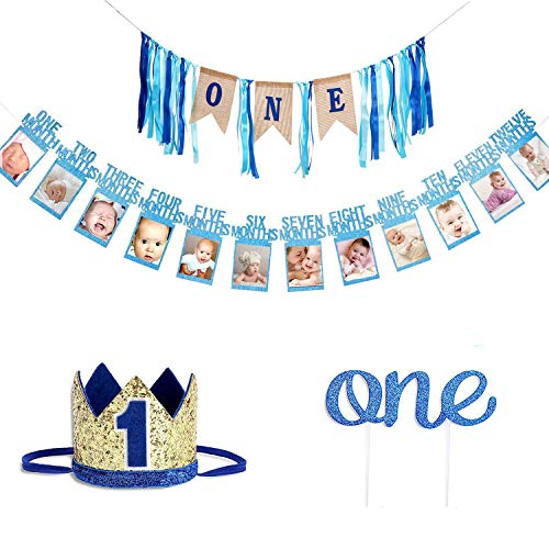Boy High Chair Kit - Faylapa Baby 1st Birthday Boys Decoration kit - First Birthday High Chair Banner-ONE Burlap Ribbon Banner,Baby Photo Banner,No.1 Crown,Glitter One Cake Topper