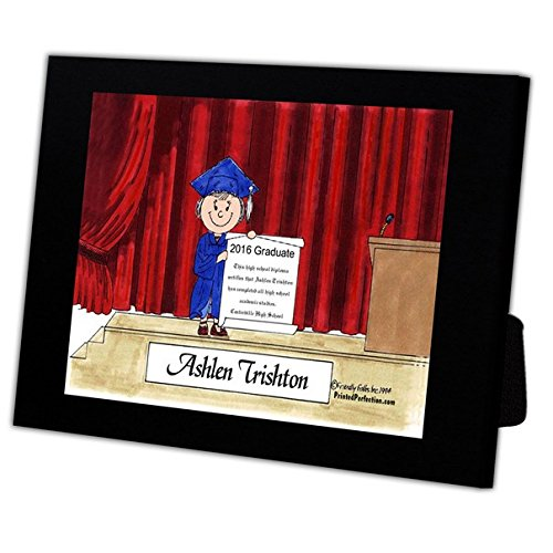Personalized Friendly Folks Cartoon Caricature in a Color Block Frame Gift: Graduation - Female Great for high school, college, tech school graduation by Printed Perfection (Image #4)