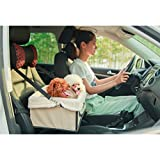 Pet Dog Car Carrier Booster Seat Waterproof Front Seat Collapsable Basket with Fleece Mat for Small Animal Cats (Small, Beige)