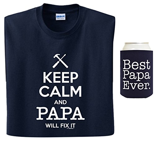 Grandpa Gifts Keep Calm Papa Will Fix It Best Ever Coolie Bundle T-Shirt Large Navy