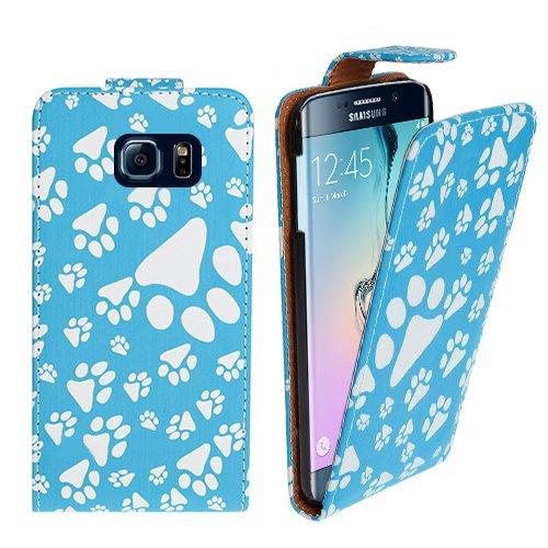 Xtra-Funky Serie Samsung Galaxy S6 Edge PLUS Mascotas Paw Impresión del pie de la PU del tirón del cuero de la cubierta del caso - Púrpura Azul