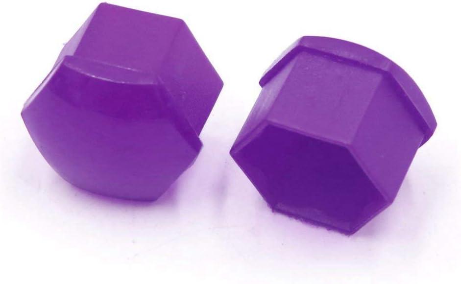 Semoic 20 pcs Purple Plastic Wheel Lug Nut Bolt Cover Cap with Removal Tool for Car,17mm
