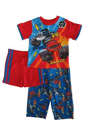 nickelodeon blaze little boys 3pc pajama set 2t blue red (Inc Monster Robe)