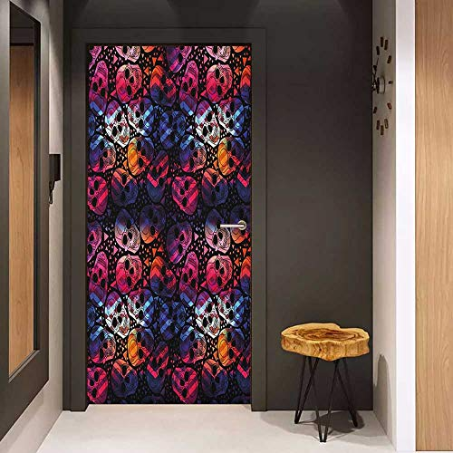 Onefzc Soliciting Sticker for Door Halloween Mexican Sugar Skulls Stylized Digital Polygonal Geometric All Saint Day Display Mural Wallpaper W35.4 x H78.7 Multicolor