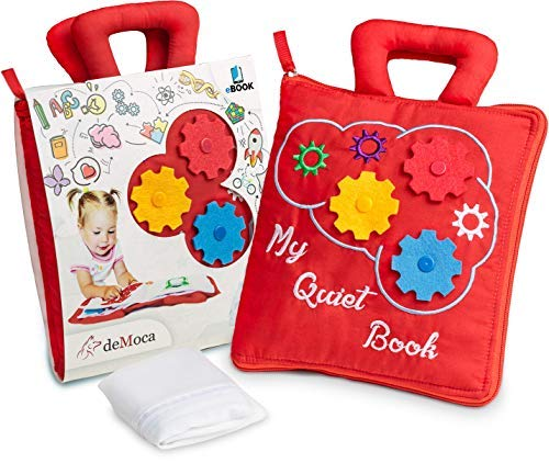 deMoca Montessori Activity Quiet Book – Toddlers Travel Toys Soft Busy Book – Early Preschool Learning Sensory How to Basic Life Skills Activities for Boys amp Girls  Zipper Bag  eBook Red
