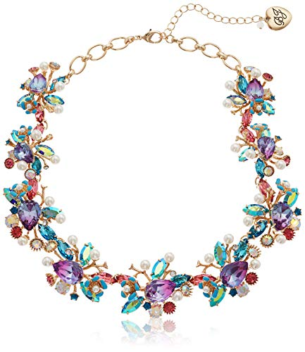 Betsey Johnson (GBG) Women's Mermaid Mixed Stone Cluster Collar Necklace, Multi, One Size