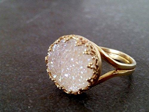 Gold ring,April Birthstone ring,White Agate Druzy ring,Statement Ring,Round ring,Druzzy stone ring ,Bezel Set Ring