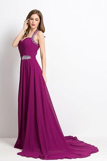 Beauty-Emily schulterfreies Rüschen Sweep lange formale Abendkleid mit  Schleppe: Amazon.de: Bekleidung