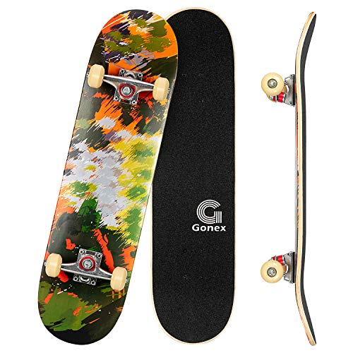 Gonex 31 x 8 Inch Complete Skateboard, 9 Layer Maple Deck Double Kick Deck Concave Cruiser Skateboard for Boys Girls Teens Adults Beginner, Watercolor