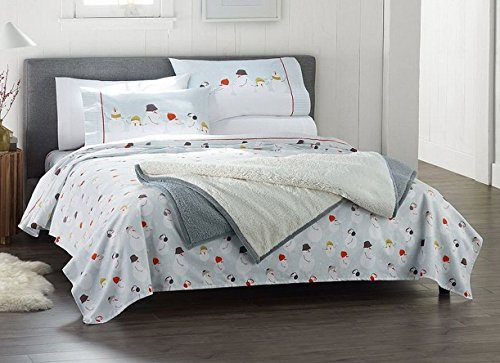 [Cuddl Duds Full Flannel Sheet with Deep Pockets, 4-Pieces - Snowman Hats] (Snowman Flannel)