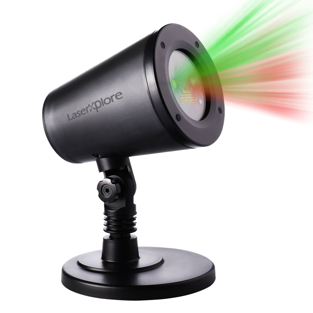 LaserXplore Laser Christmas Lights, Red and Green Star Projector, Moving Star Laser with 7 Lighting Modes for Christmas, Holiday, Parties, Landscape and Garden Decorations