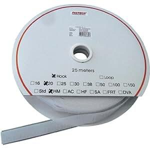 Funda auto-adhesiva FASTECH Velcro bucle HM PS-A69 modelo anatómico 30 mm 25 m T0203000000325 blanco