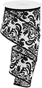 Crafting Black, Grey Floral Arrangements Gift Wrapping Wired Ribbon 2.5 x 10 Yards Bold Damask//Faux Dupioni for Wreaths