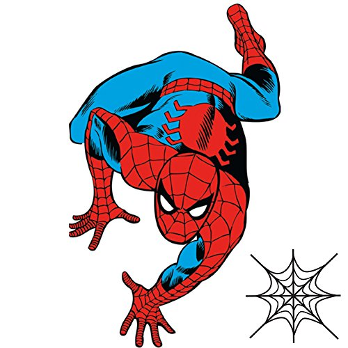 Marvel Classic Spiderman Giant Wall Decal and Mini Spiderweb Bundle